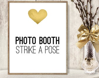 Photo Booth Sign DIY / Strike a Pose Sign / Yellow Gold Heart, Watercolor Heart Sign / Printable PDF Wedding Sign ▷ Instant Download