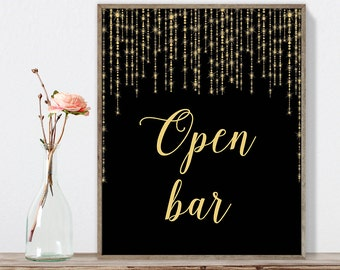 Open Bar Sign DIY / Elegant Gold Wedding Sign / Great Gatsby, Bokeh String Light / Black and Gold Calligraphy ▷ Instant Download JPEG