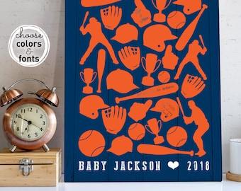 Baby Shower Guestbook Alternative, NY Mets Baseball, Navy and Orange Nursery Wall Art Printable, Personalized Baseball Gift