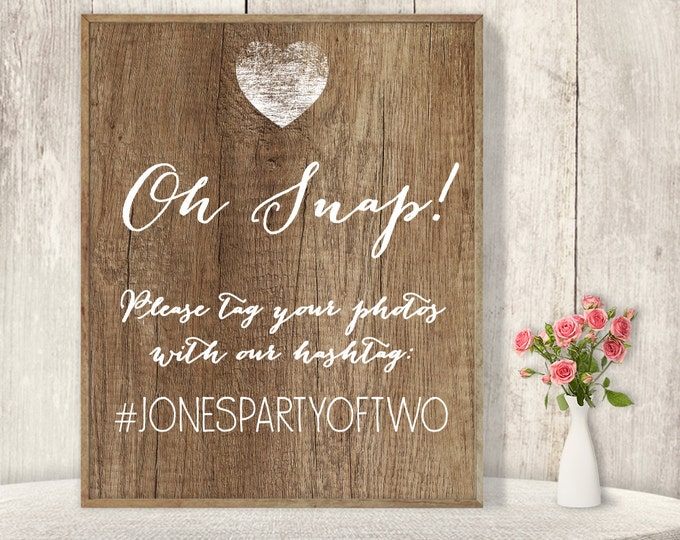 Rustic Wedding Hashtag Sign / Instagram Sign / Social Media / Rustic Wood Sign, White Calligraphy ▷ Printable File {or} Printed & Shipped