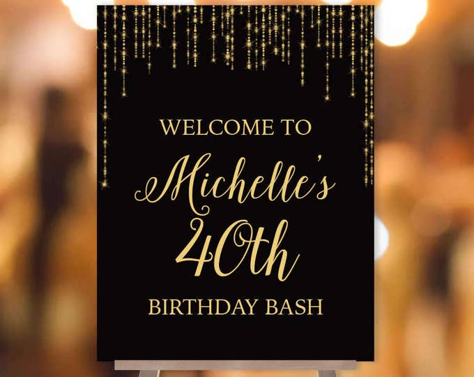 Great Gatsby Birthday Welcome Sign / Bokeh String Light Sparkle / Black and Gold ▷ Printable File {or} Printed & Shipped