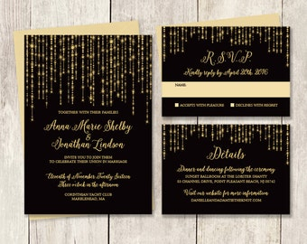Elegant Wedding Invitation Suite / Great Gatsby Bokeh String Light / Black and Gold ▷ Printed Wedding Invitations {or} Printable
