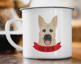 German Shepherd Mug, Personalized Gift Idea, Custom Mug Personalized Pet Portrait, Pet Parents Gift under 30, Stainless Steel Camping Mug