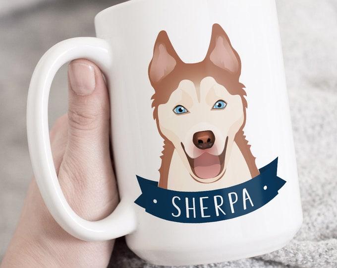 Siberian Husky Mug, Personalized Pet Gift Idea, Custom Mug Personalized Pet Illustration, Husky Gift Idea for Pet Lover Xmas