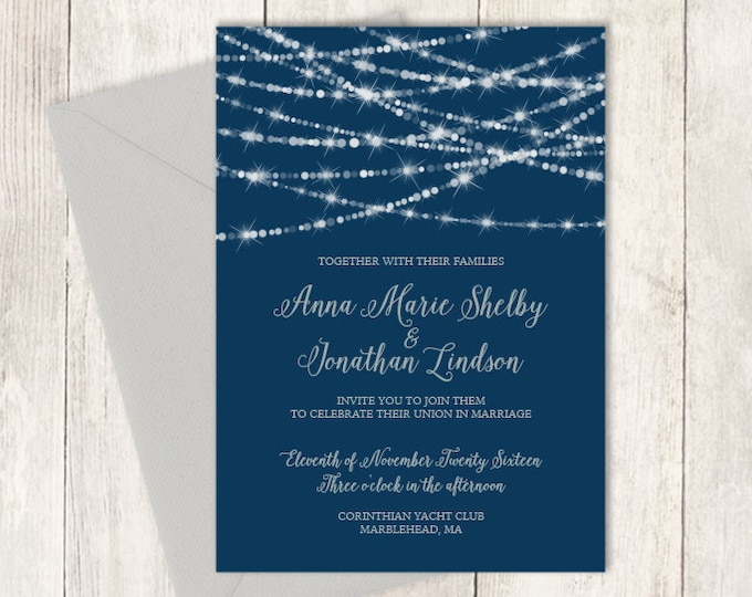 Elegant Wedding Invitation DIY / Festive Bokeh String Light Sparkle / Navy and Silver Calligraphy / Silver and Navy ▷ Invite Printable PDF