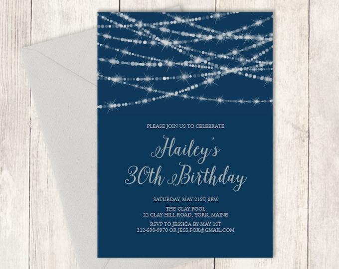 Elegant Birthday Invitation DIY / Festive Bokeh String Light / Navy and Silver Calligraphy / Thirtieth Birthday ▷ Printable Birthday Invite