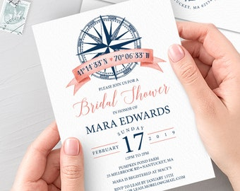 Nautical Bridal Shower Invitation, Coral Navy Blue Shower Invite for Tropical Beach Shower, PRINTED INVITATION or printable invite