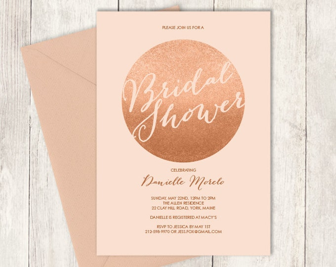 Rose Gold Sparkle Bridal Shower Invitation / Metallic Rose Gold Glitter Circle on Coral Pink, Gold  ▷ Printed Heavy Paper {or} Printable