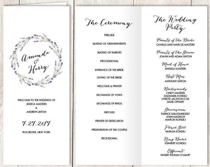 Rustic Folding Wedding Program DIY / Rustic Lavender Wreath Flower, Twig / Bridal Party, Schedule, Ceremony ▷Printable PDF
