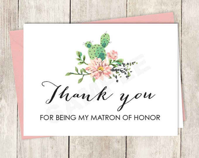 Rustic Thank You Card DIY Printable / For Being My Matron Of Honor Card / Cactus Succulent, Coral Flower Wreath Fiesta ▷ Instant Download