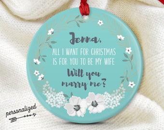 Unique Proposal Idea, Christmas Engagement Ornament, Personalized Will You Marry Me? Ornament, Future Fiancée Gift Idea, Aqua Blue