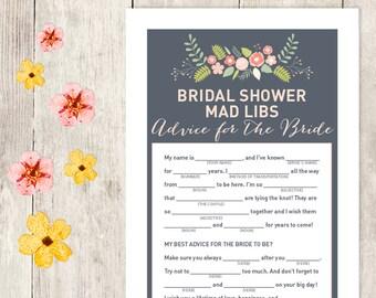 Floral Bridal Shower Game DIY / Coral Pink Flower / Mad Libs Printable PDF / Advice for the Bride / Wedding Shower ▷ Instant Download