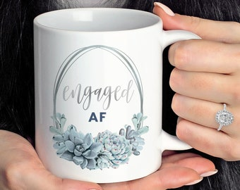 Engaged AF Coffee Mug, Slate Blue Wedding, Funny Engagement Gift under 20, Future Mrs Gift for Her, Silver Dusty Blue Succulent