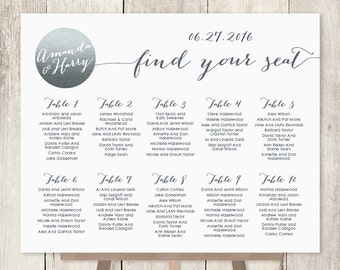 Wedding Seating Chart Sign / Silver Sparkle Wedding Sign / Metallic Silver and Gray / Seating Sign ▷ Printable File {or} Printed & Shipped