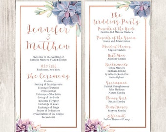 Succulent Wedding Program / Greenery and Rose Gold Geometric / Cactus and Copper Calligraphy ▷ Printable File {or} Printed & Shipped