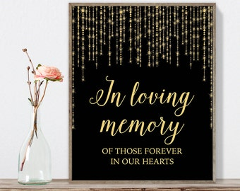 In Loving Memory Sign DIY / Gold Wedding Sign / Great Gatsby, Bokeh String Light / Black and Gold Calligraphy ▷Instant Download JPEG