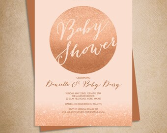 Rose Gold Sparkle Baby Shower Invitation DIY / Metallic Rose Gold Glitter Circle on Coral / Printable PDF ▷ Baby Shower Invite Printable PDF