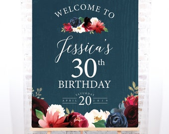 Rustic Birthday Party Welcome Sign, Burgundy Navy Boho Thirtieth Birthday Canvas Print > PRINTED Sign for Birthday {or} Printable Sign