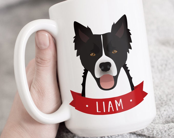 Border Collie Mug, Personalized Gift for Border Collie Dad, Custom Pet Mug, Personalized Gift under 30