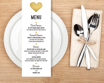 Wedding Menu Card / Gold Whimsical Watercolor Heart  ▷ Printable File {or} Printed & Shipped
