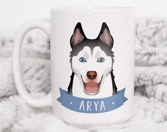 Siberian Husky Mug, Personalized Pet Gift Idea, Custom Mug Personalized Pet Illustration, Husky Gift Idea for Pet Lover Xmas