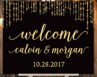 Elegant Wedding Welcome Sign / Great Gatsby Inspired Bokeh String Light Sparkle Black and Gold / Fall ▷ Printed Paper, Canvas {or} Printable