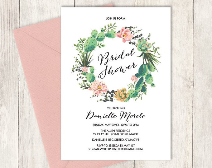 Floral Bridal Shower Invitation / Pink Flowers and Cactus Succulent / Mexican Fiesta  ▷ Printed Heavy Paper {or} Printable
