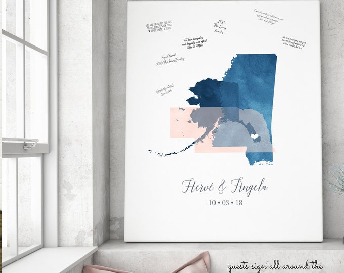 Wedding Guest Book Alternative Canvas, Watercolor Map Guest Book for Destination Wedding, Sapphire Navy and Blush Wedding Sign In
