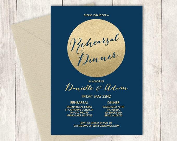 Gold Rehearsal Dinner Invitation / Gold Sparkle Glitter Rehearsal Invite / Metallic Gold, Navy ▷ Printed Wedding Invitations {or} Printable