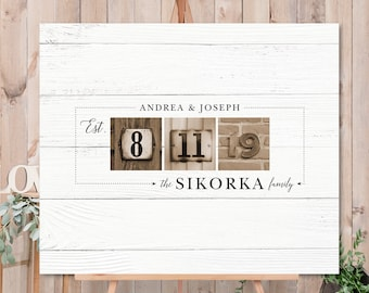Retro Guest Book Alternative, Rustic Wedding Guest Book Sign, Family Established Date Canvas, Sepia Photos & White Wood