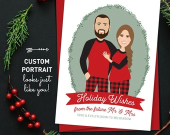 Christmas Engagement Announcement Card, Custom Family Portrait Christmas Cards, Matching Christmas PJs, Printed Holiday Card 5x7