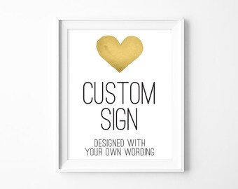 Your Custom Text Poster / Wedding Sign / Whimsical Watercolor Heart Poster ▷ Printable File {or} Printed & Shipped