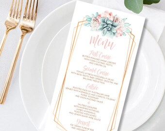Succulent Menu Card / Wedding Menu / Blush Flower Succulent Bouquet Faux Metallic Copper Watercolor Cactus ▷ Printed Menus or Printable File