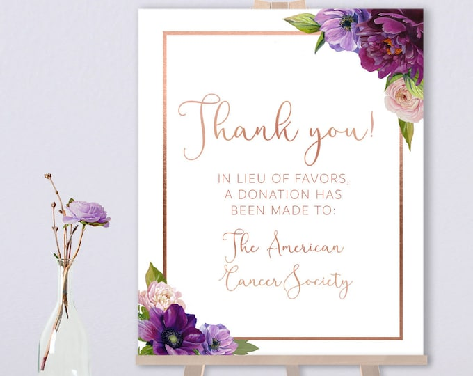 Purple Thank You Sign / In Lieu Charity Donation / Purple Flowers, Anemone, Peony, Rose Gold Wedding ▷ Printed Paper, Canvas {or} Printable