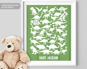 Dinosaur Baby Shower Guest Book Alternative, Dinosaur Birthday Party Sign In, Custom Guestbook Sign, Personalized Baby Gift Idea