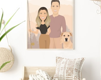 Family portrait with labrador & mountain background. Fishing cartoon of couple with dog. Personalized anniversary gift for husband or wife.
