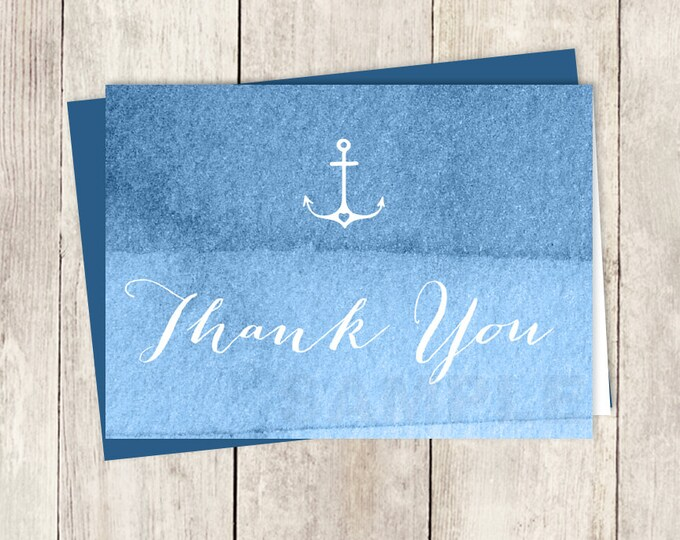 Watercolor Thank You Card DIY / Nautical Ombre Blue / Sapphire Blue Watercolor / Wedding Thank You Printable PDF ▷ Instant Download