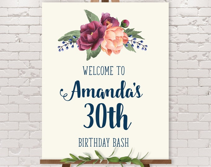Purple Birthday Welcome Sign / Peony Berry Bouquet, Peach Blush Pink Ranunculus, Fall Birthday ▷ Printable File {or} Printed & Shipped