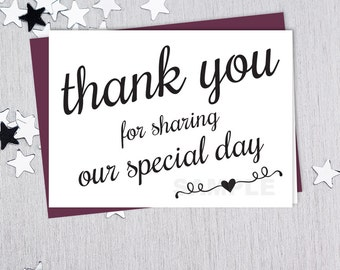 For Sharing Our Special Day // Wedding Thank You Card DIY // Elegant Calligraphy Printable PDF // Classic Elegance ▷ Instant Download