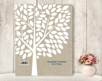 "Wedding Guest Book Alternative Poster / Guest Tree on Linen, Love Birds / ""Leaving Wishes"" 100 ▷ Printable File {or} Printed & Shipped"