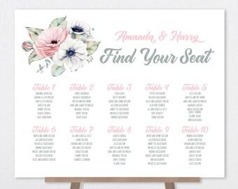 Boho Wedding Seating Chart Sign / Blush, White and Greenery, Anemone, Pink Peony Rose / Blush and Gray▷Printable File {or} Printed & Shipped