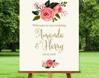 Floral Wedding Welcome Sign / Floral Welcome / Watercolor Rose Flower / Gold Calligraphy, Pink Rose ▷ Printable File {or} Printed & Shipped