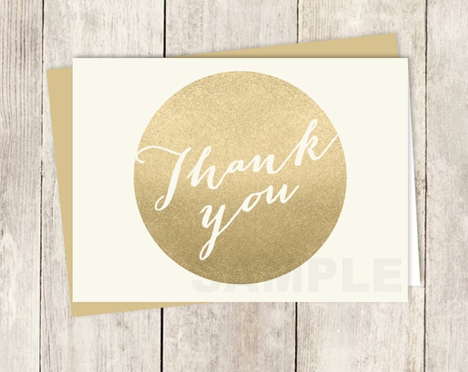Gold and Cream Thank You Card DIY / Faux Metallic Gold Circle and Cream, Calligraphy / Wedding Thank You Printable PDF ▷ Instant Download