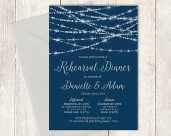 Elegant Rehearsal Dinner Invitation DIY / Festive Bokeh String Light Sparkle / Navy and Silver Calligraphy ▷ Printable PDF Invite