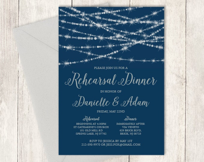 Elegant Rehearsal Dinner Invitation DIY / Festive Bokeh String Light Sparkle / Navy and Silver Calligraphy ▷ Printable PDF Invite