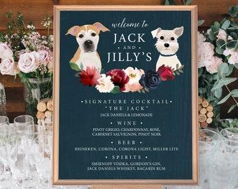 Custom Pet Portrait Bar Sign, Dog Portrait Wedding Bar Sign, Burgundy Navy Boho Drink Canvas > PRINTED Bar Sign or Printable
