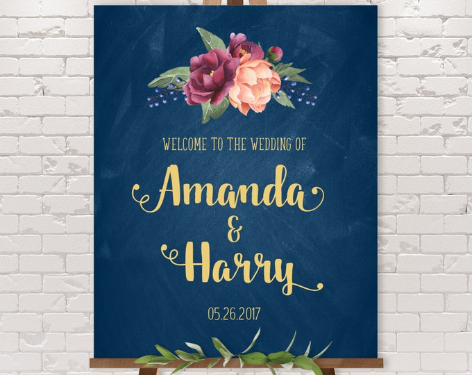 Wedding Welcome Sign / Burgundy Peony Berry Chalkboard, Peach Blush Pink Ranunculus, Gold and Navy ▷ Printable File {or} Printed & Shipped