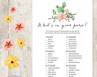Floral Bridal Shower Game DIY / Pink Flower, Cactus, Fiesta / What's In Your Purse Printable PDF / Wedding Shower ▷ Instant Download