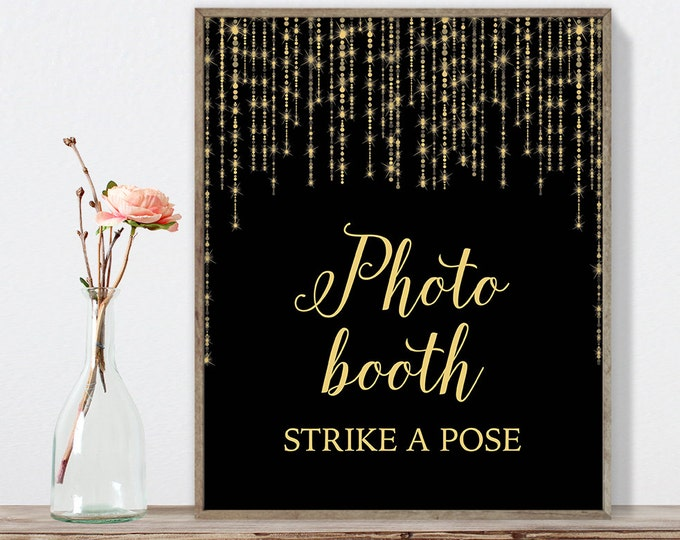 Photo Booth Sign DIY / Elegant Gold Wedding Sign / Great Gatsby, Bokeh String Light / Black and Gold Calligraphy ▷ Instant Download JPEG