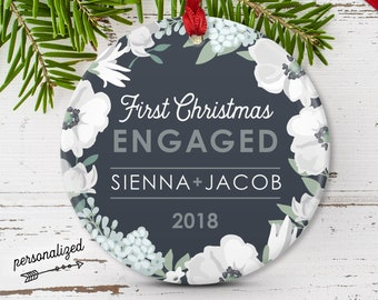 Engagement Ornament, Personalized Christmas Ornament, First Christmas Engaged Gift for Couple, Charcoal Gray and White Flowers